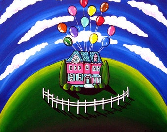 Up House Balloons Whimsical Fun Colorful Folk Art Painting