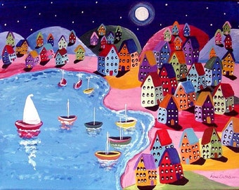 Colorful Night Sail Houses Full Moon Whimsical Folk Art Painting