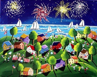 Fun Whimsical Fireworks 4th of July Sailboats Colorful Folk Art Original Painting
