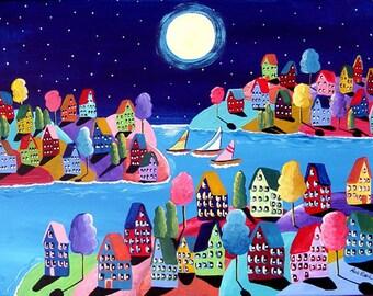 Whimsical Night Sailboats Houses Full Moon Folk Art Painting
