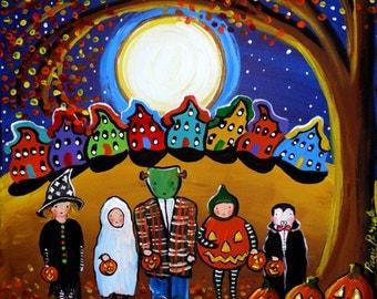 Kids Trick or Treat Fall Halloween Full Moon Folk Art Original Painting