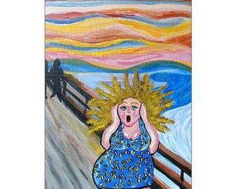 The Scream Diva Whimsical Fun Folk Art Blank Greeting Cards Pk of 10