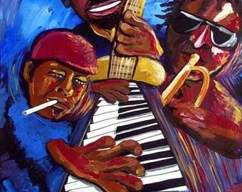 Abstract Jazz Musicians Trumpet Bass African American Music Original Folk Art Painting