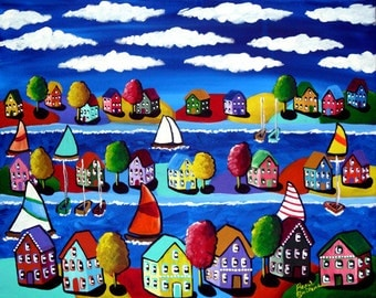 Sailboats Trees Houses Waterfront Canvas Whimsical Original Colorful Folk Art Painting
