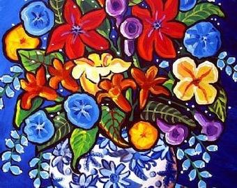 Summer Bouquet Blue Print Colorful Whimsical Flowers Folk Art Canvas Print