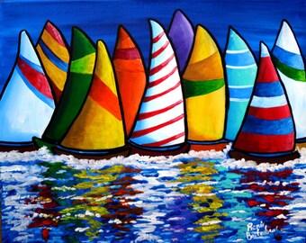 Colorful Sailboats Sailing Whimsical Original Folk Art Painting