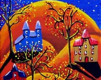 Halloween Kids Trick or Treat Fun Whimsical Folk Art Giclee Print