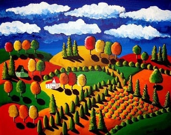 Colorful Fall Day Landscape Whimsical Folk Art Giclee Print