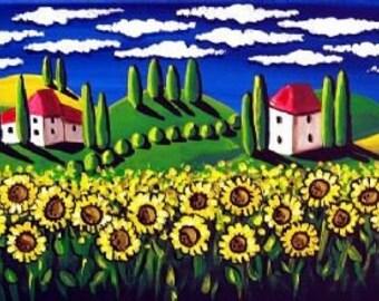 Field of Sunflowers Whimsical Tuscan Folk Art Landscape Giclee PRINT