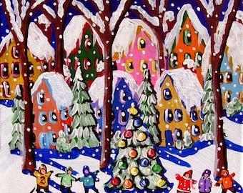 Christmas Tree Kids Sing Winter Snow Whimsical Colorful Folk Art Giclee PRINT