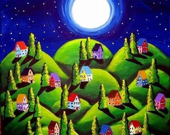 Green Peace On Earth Whimsical Landscape Folk Art Giclee Print