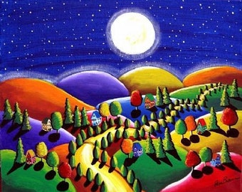 Peace on Earth 7 Houses Hills Moon Whimsical Landscape Folk Art Giclee Print