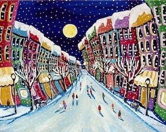 Winter City Street Holiday Whimsical Snow Folk Art Giclee PRINT