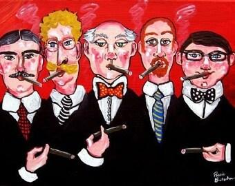 The Cigar Smokers Men Fun Whimsical Folk Art Giclee Print