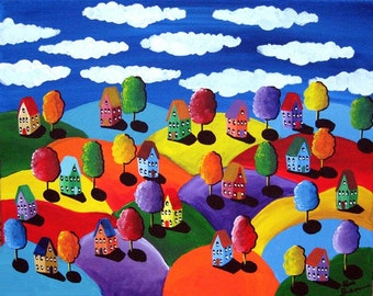 Colorful Landscape Houses Whimsical Folk Art  Original Painting