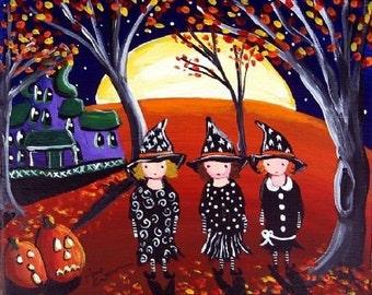 3 Witches Haunted House Halloween Folk Art Fun Print Giclee