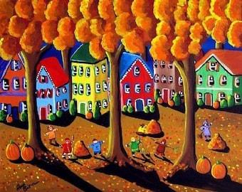 Kids Raking Leaves Fall Autumn Whimsical Folk Art Giclee PRINT