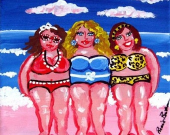3 Fun Beach  Beach Divas Friends Whimsical Folk Art Canvas Giclee PRINT