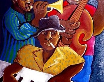 Jazz Trio Musicians Whimsical Folk Art Giclee Canvas Print