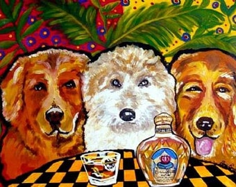 Three Dogs With Crown Royal Fun Folk Art Giclee Print