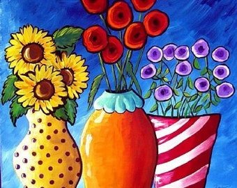 COLORFUL FLOWER VASES Folk Art Giclee Canvas Print