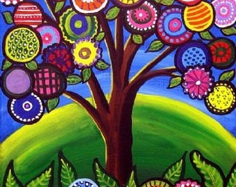 Whimsical Houses Trees Colorful Folk Art Giclee Print