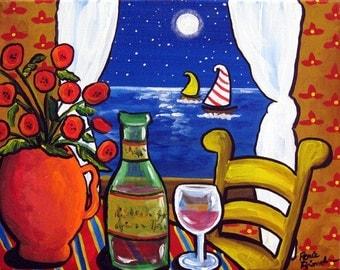 Poppies Wine Sailboat Still Life Colorful Fun Folk Art Painting