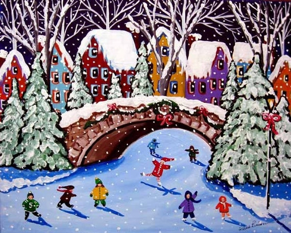 Ice Skating Kids Winter Fun Holiday Snow Whimsical Folk Art Painting