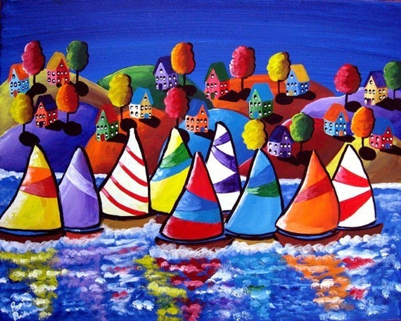 Colorful Fun Houses Sailboats  Whimsical Giclee Print Folk Art