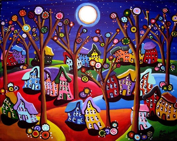 Fun colorful trees houses moon whimsical folk by for Funky house artists