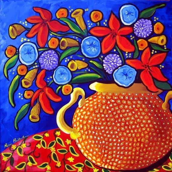 Colorful Spring Flowers Floral Vase Folk Art by ...