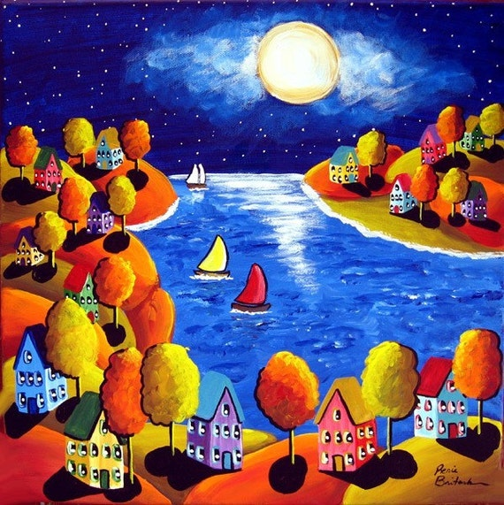 Fall Night Sailboats Houses Full Moon Whimsical Colorful Original Folk Art Painting