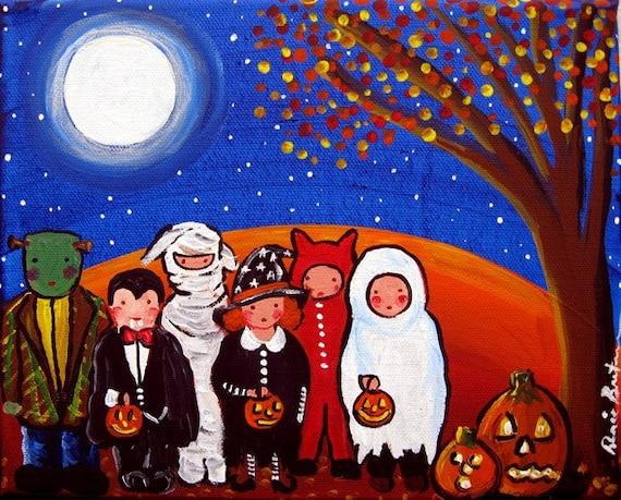 Kids Trick or Treat Halloween Fun Fall Folk Art  Original Painting Canvas