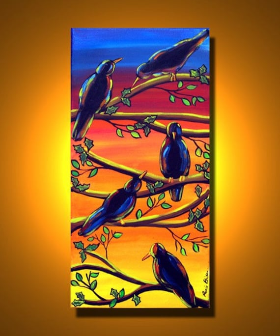 Crows Ravens Sunset Fall Folk Art Canvas Painting