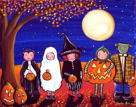 Trick or Treaters Kids Halloween Whimsical Fall Fun Folk Art Painting