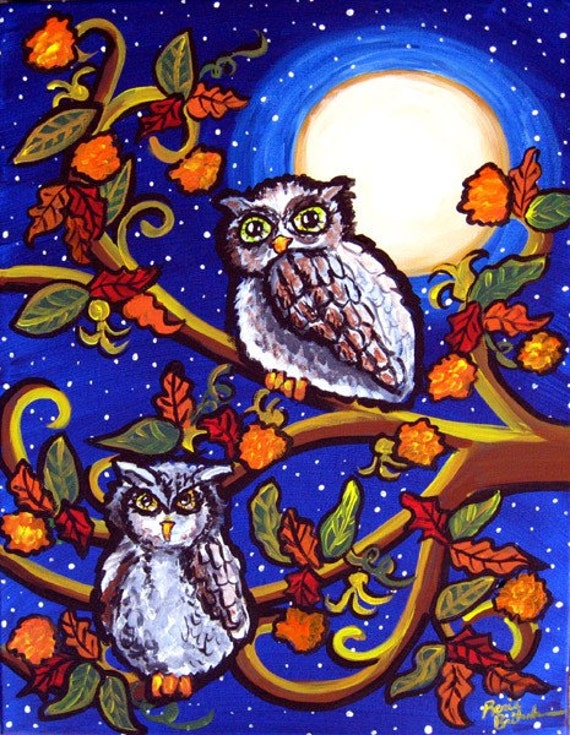 Owls In Moonlight Fall Folk Art Canvas Original Painting
