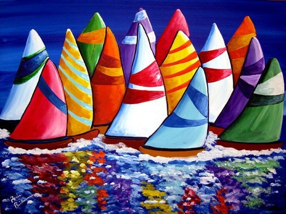 Colorful Sailboats Whimsical Fun Original Folk Art Painting
