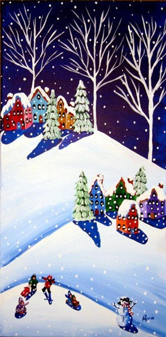 Sled Riding Kids Fun Whimsical Winter Folk Art Canvas Original Painting