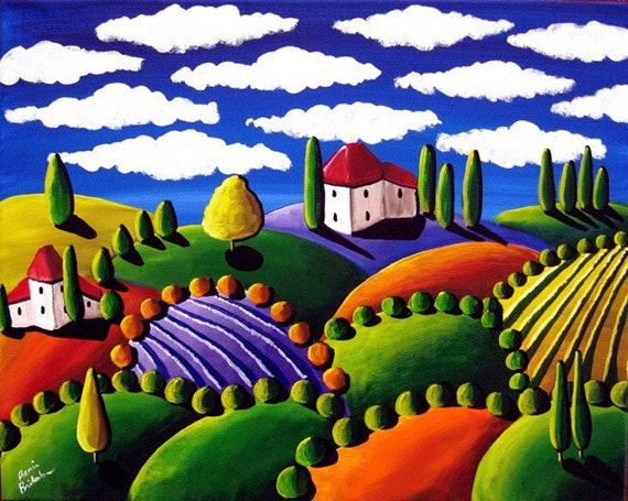 COLORFUL TUSCAN LANDSCAPE Whimsical Folk Art Painting Original renie