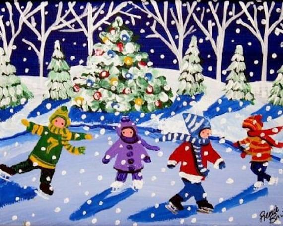 Little Ice Skaters Christmas Whimsical Folk Art Giclee Print