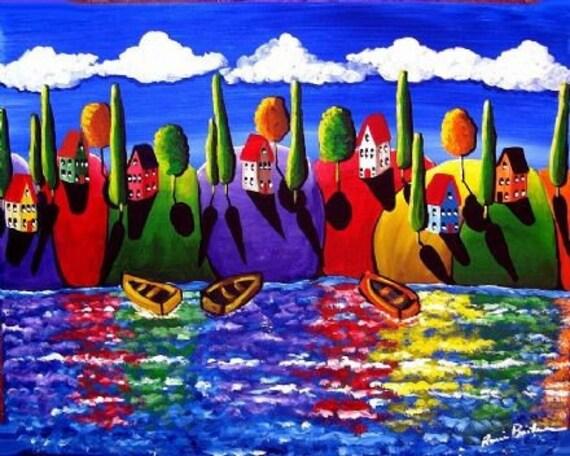 Colorful Fall Shoreline Whimsical Folk Art Giclee Print