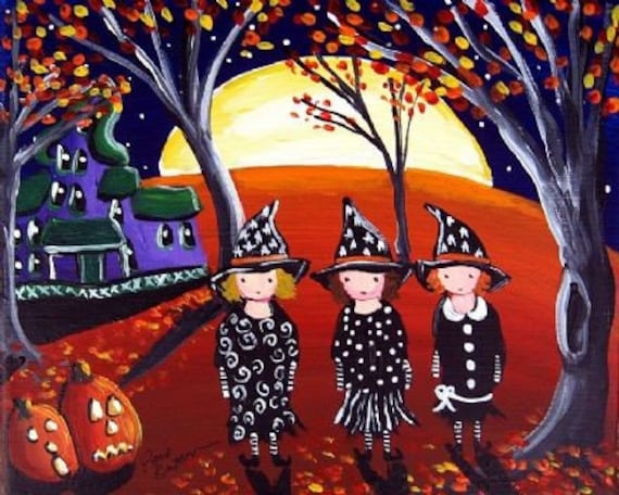 3 Witches Haunted House Halloween Folk Art Fun Print Giclee