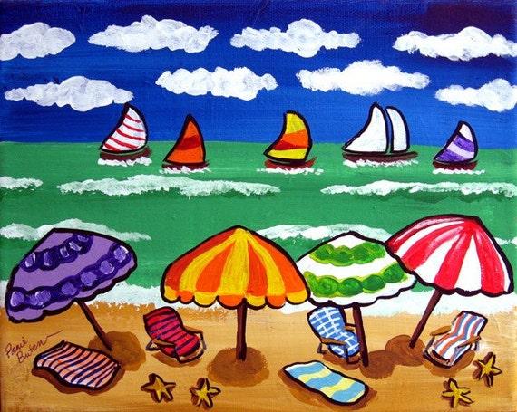 Whimsical Beach Scene Umbrellas Sailboats Fun Colorful Original Folk Art Painting