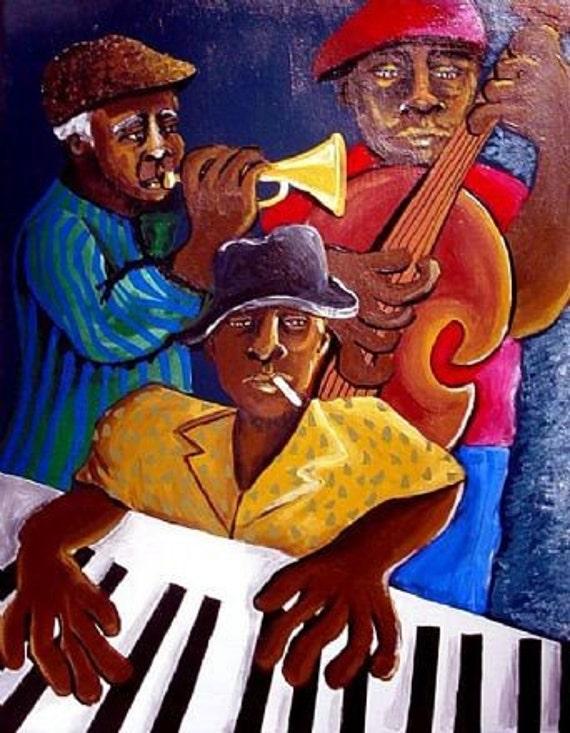 Jazz Trio Musicians Whimsical Folk Art Giclee Canvas Print