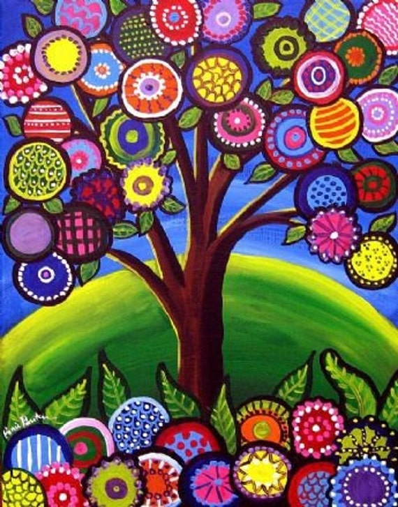 Whimsical houses trees colorful folk art giclee print for Colorful tree house