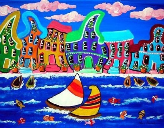 Whimsical Beach Shoreline Houses Sailboats Colorful Folk Art Giclee Print