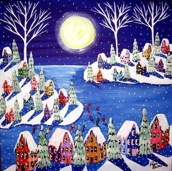 Snow holiday christmas winter wonderland kids ice skate whimsical folk