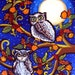 Owls In Moonlight Fall Folk Art Canvas Original Painting