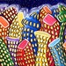 Fun Funky Colorful Abstract Cityscape Painting