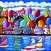 Sailboats Trees Houses Shoreline Canvas Whimsical Colorful Folk Art Original Painting